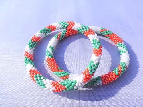Set of Two Orange,Green, White Crocheted Beaded Bracelet, Handmade in Nepal, Seed Beads