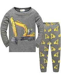 Toddler Boys Pajamas Dinosaur 100% Cotton Truck Sleepwear Pjs Sets Long Sleeve Excavator Jammies