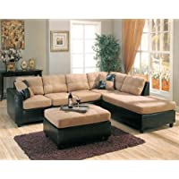 Harlow Right L-Shaped Two Tone Sectional Sofa and Ottoman by Coaster