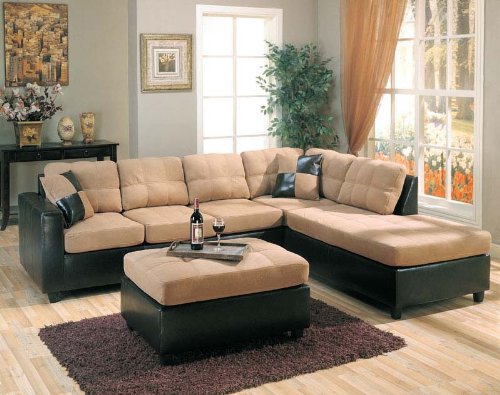 Harlow Right L-Shaped Two Tone Sectional Sofa and Ottoman by Coaster (Sofa Tone Microfiber)