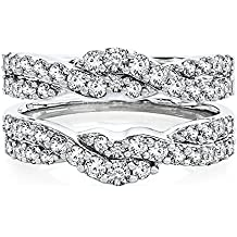 14K White Gold Plated Sterling Silver Base Alloy 1.00 ct Round-cut Simulated Diamond Enhancer Solitaire Ring Guard Jewelry
