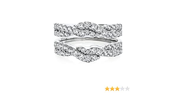 DreamJewels Solitaire Enhancer Round 1.00ct Simulated Diamonds Ring Guard Wrap 14k White Gold Plated Jacket