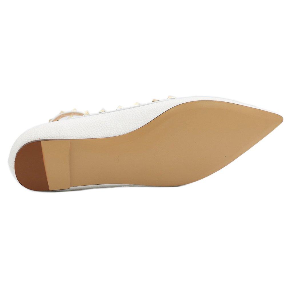 EKS Damen Niets Niets Damen Spitze Ankle Strap Stilett Ballerinas Flache Schuhe Flache Schuhe EU 35-46 Weiß-lines 10421c