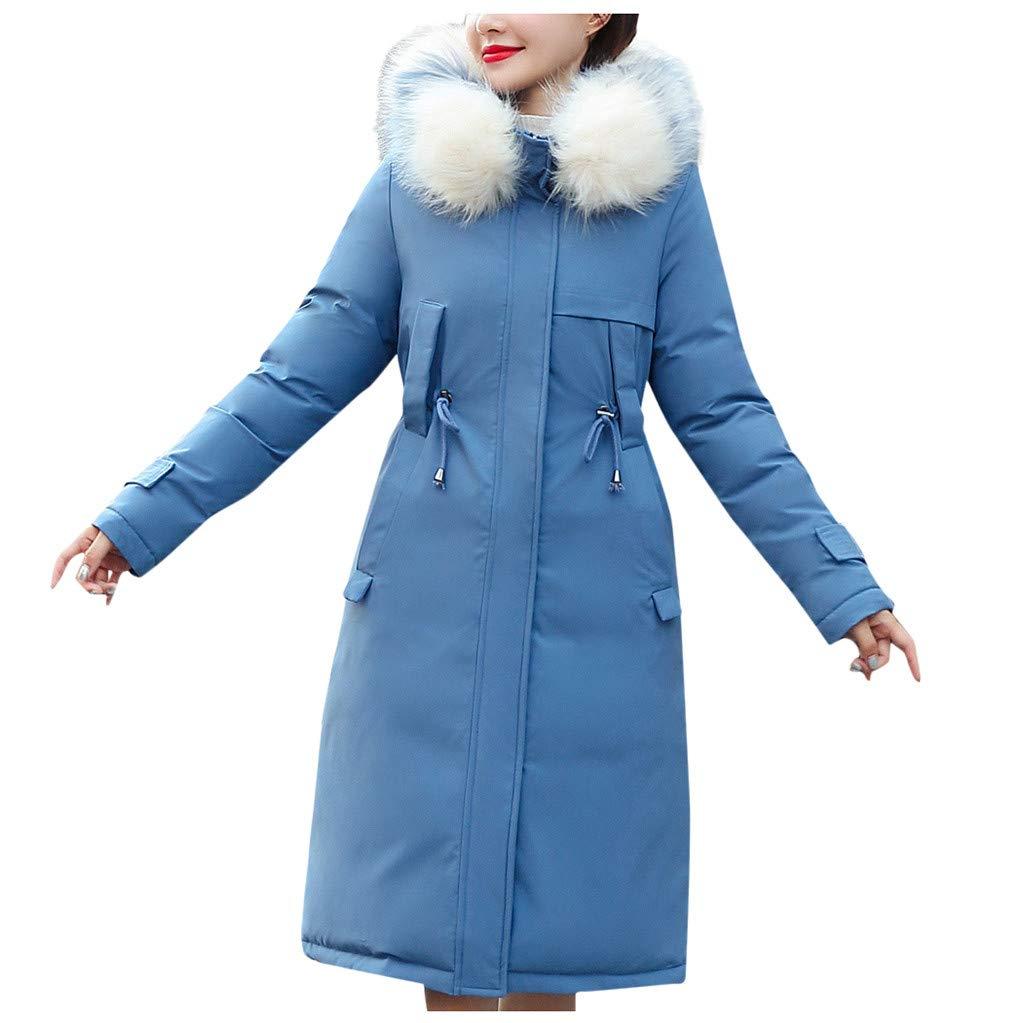 Allywit- Women Faux Suede Long Jacket Button Coat Long Solid Warm Jackets Windbreaker Coats with Big Pocket Blue by Allywit- Women