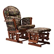 Artiva USA Home Deluxe Camouflage Fabric Cushion Cherry Wood Glider Chair and Ottoman Set