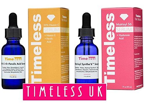 Timeless cuidado de la piel 20% Vitamina C + E Ferulic & ácido Matrixyl Synthe - Juego de 6 - 1 de cada 30 ml/1oz tamaño - autorizado UK vendedor Timeless Skin Care USA CEFMAT6