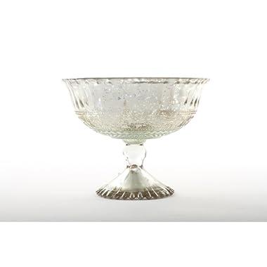 Koyal Wholesale 7-Inch Antique Silver Glass Compote Bowl Pedestal Flower Bowl Centerpiece