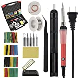 Soldering Iron Kit,Thsinde Soldering Iron Tools 110V 60W Adjustable Temperature Welding Iron 9-in-1,Heat Shrink Tubing, 5pcs Tips,Tweezers,Rosin,Solder Wick, Stand and Other Portable Tool Case