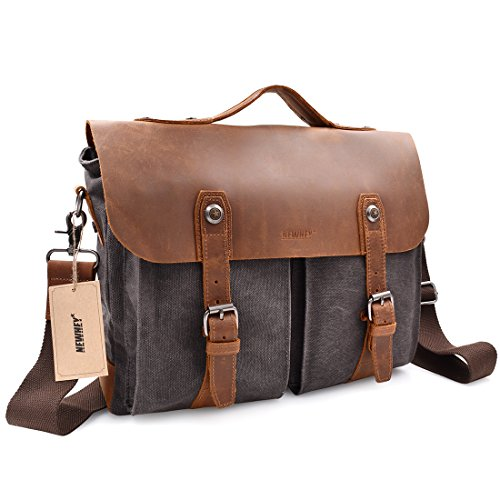 Vintage Mens Messenger Bag Satchel Up to 14'' laptops Bag,Crazy Horse Leather Briefcase Crossbody Shoulder Handle NoteBook Computer Bag,15.7