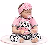 Sleeping Reborn Baby Doll Girl Look Real Silicone Pink with Cow Pattern 22 Inches