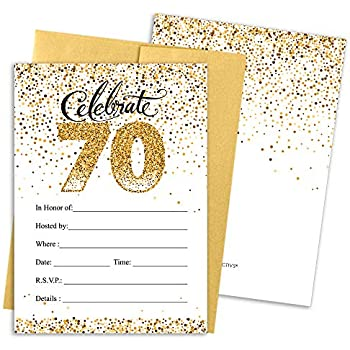 70th Birthday Party Invitation Cards With Envelopes 25 Count White And Gold