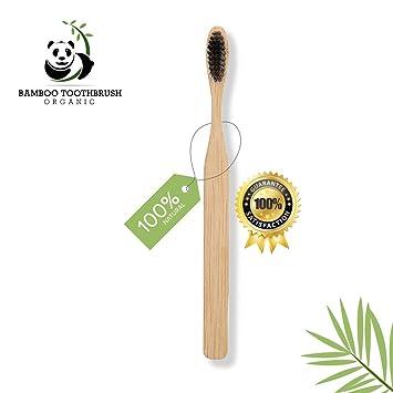 BrushZero - Cepillo de dientes de bambú natural, cerdas sin BPA, color negro: Amazon.es: Salud y cuidado personal