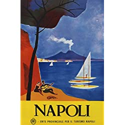NAPOLI GUITAR PLAYER SAILBOAT BEACH LOVE ITALY ITALIA ITALIAN VINTAGE POSTER REPRO
