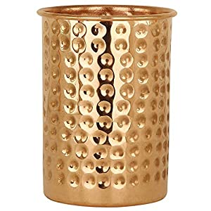 R Ayurveda Copper Copper Hammer Glass Cup/Tumbler, 350 Ml, Brown