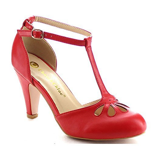 Womens Mid Heel Shoes - Chase & Chloe Kimmy-36 Women's Teardrop Cut Out T-Strap Mid Heel Dress Pumps,Red,11