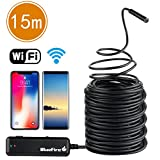 BlueFire 15M Rigid Flexible WiFi Endoscope IP66 Waterproof Borescope HD Resolutions Inspection Snake Camera with 6 Adjustable LED Lights for All iPhones(Above IOS6.0) / iPads / Android Phones / Tablet (49.2 FT)