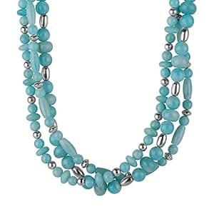 "Carolyn Pollack Sterling Silver Amazonite Three-Strand Torsade Necklace, 17"""