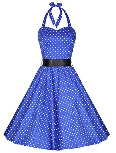 Pretty Kitty Fashion - 50 años lunares azul vintage swing vestido pin-up (4xl