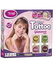 Tytoo Kit de Tatouage à Paillettes Glamorous pour Filles, avec 35 modèles Inclus. Hypoallergénique, Durable Jusqu'à 18 Jours