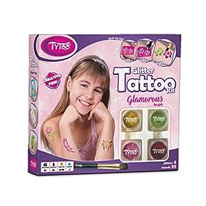 Tytoo Kit de Tatouage à Paillettes Glamorous pour Filles, avec 35 modèles Inclus. Hypoallergénique, Durable Jusqu'à 18…