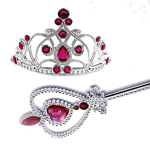 IEUUMLER Princess Wand and Crown Tiara Set Girls Dress Up Set HG001 (Rose Red) (Wand Jeweled)