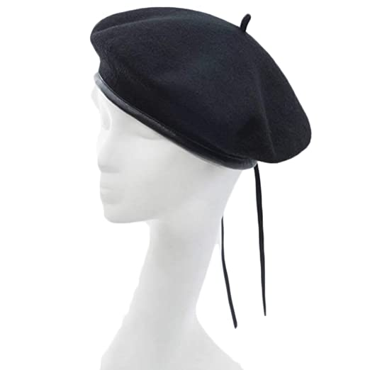 8c4a9531 JH JOEJERRY Wool Beret Cap Women Military French Beret Hat (Black ...
