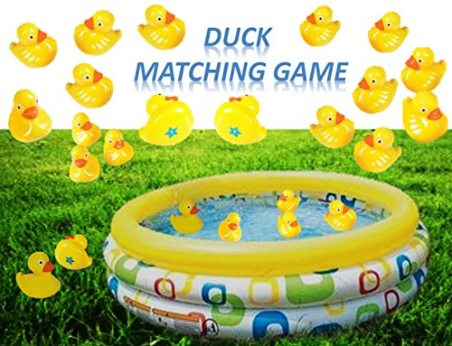 PlayO Plastic Ducks Matching Game - 20 Duckies - Water Duck Memory Game for Party and Carnival - Match The Duck (Duck Plastic)