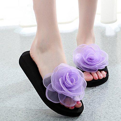 Chanclas MEIDUO sandalias 3cm/7cm Mujer deslizadores del verano de las mujeres gruesas de fondo deslizadores frescos nueva playa Forme a zapatos (Azul/Negro/naranja/púrpura) cómodo 3CM-Purple