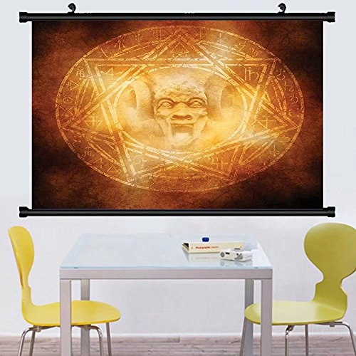 Gzhihine Wall Scroll Horror House Decor Demon Trap Symbol Logo Ceremony Creepy Ritual Fantasy Paranormal Design Wall Hanging Orange 24''x67'' by Gzhihine