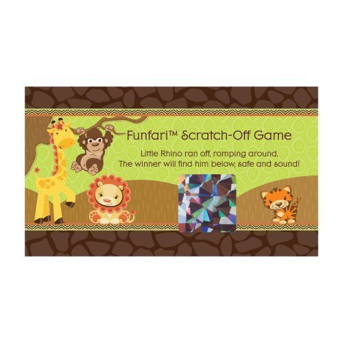 Jungle Safari Shower - Big Dot of Happiness Funfari - Fun Safari Jungle - Baby Shower or Birthday Party Game Scratch Off Cards - 22 Count
