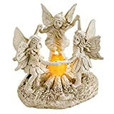 Collections Etc Solar Fairy Dance Outdoor Garden Statue Decor, Lighted Fire, Holding Hands for Yard, Lawn, Patio, Porch, Hand-Painted Stone Look