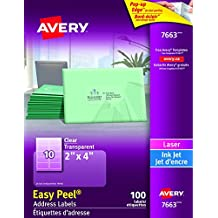 """Avery Clear Shipping Labels with Easy Peel for Laser and Inkjet Printers,  2"""" x 4"""", Glossy Clear, Rectangle, 100 Labels, Permanent (7663) Made in Canada"""