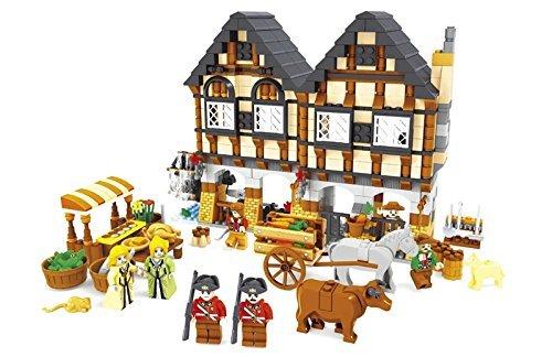 Market Village (Ausini Medieval Farmers Market Village Castle House Friends Building Bricks 884pc Educational Blocks Set ,Good Gift For Boys and Girls)