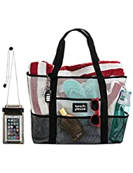Heavy Duty Mesh Bag – Beach Bag, Toy Tote Bag –Lightweight Extra Large Market, Grocery & Picnic Tote with Oversized Pockets