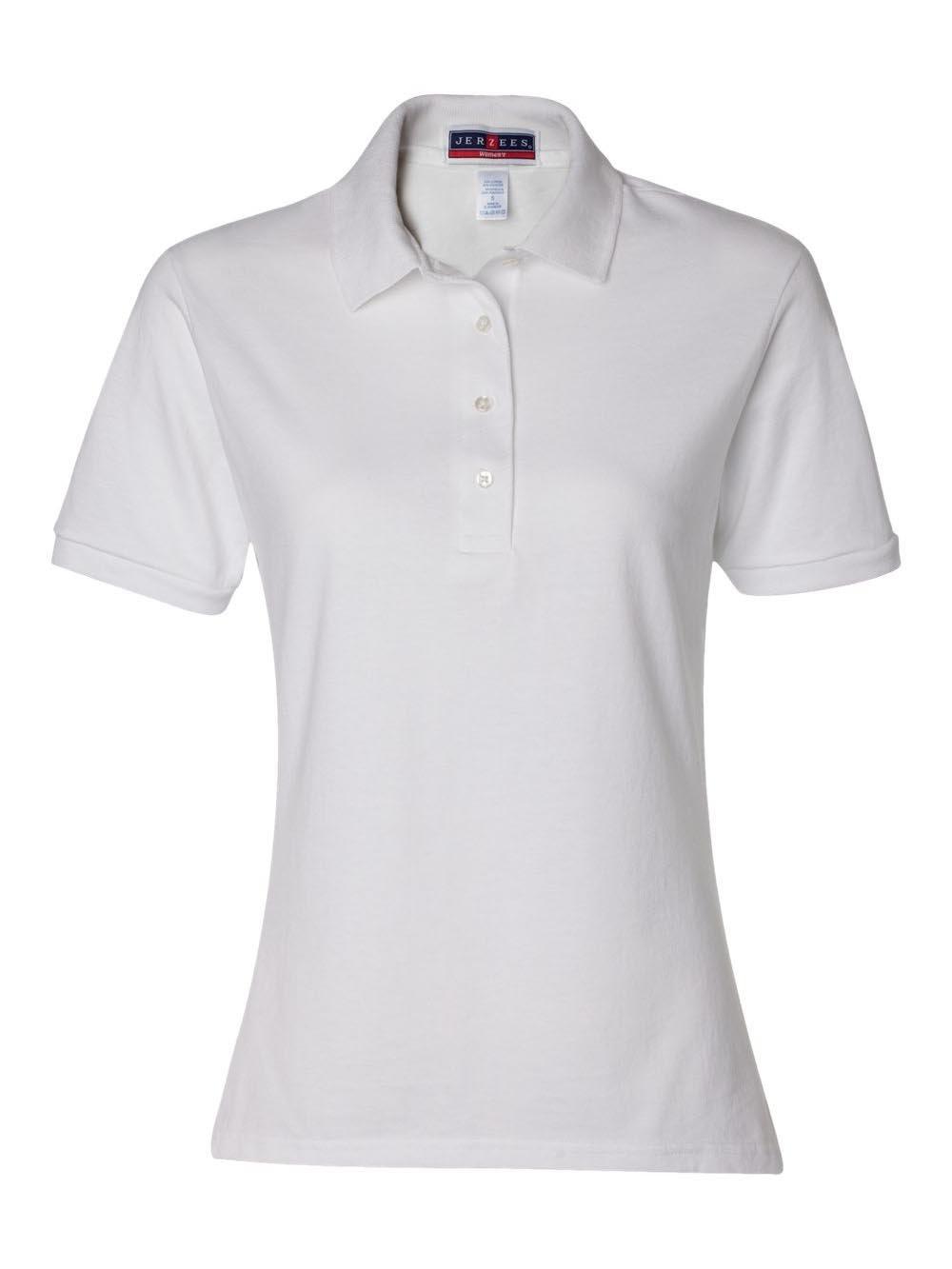 Jerzees womens 5.6 oz. 50/50 Jersey Polo with SpotShield(437W)-WHITE-2XL