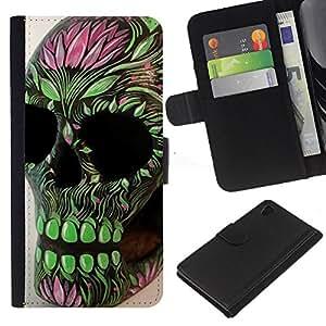 Be-Star la tarjeta de Crédito Slots PU Funda de cuero Monedero caso cubierta de piel Sony Xperia Z4v / Sony Xperia Z4 / E6508 ( Skull Floral Art Native Green Death )