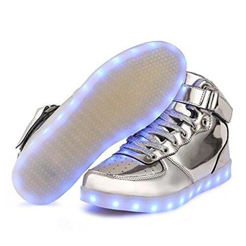 KUshopfast Kinder leuchten Schuhe Jungen und Mädchen High Top LED Energy Lights Turnschuhe (perfektes Geschenk für Kinder und Jugendliche) Silber