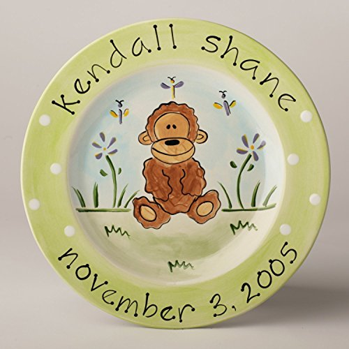 Hand Painted Ceramic Personalized Birth Plate With Monkey