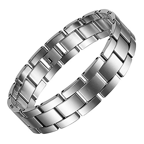 Classic Silver High Polished Tungsten Carbide Link Chain Bangle Bracelet with Free Gift Box + Link Removal Tool (Silver 04)