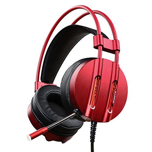 X-LSWAB PC Gaming Headset with Mic, Water Cooling Efficiency LED Lights, Over Ear Headphones with 50mm Driver , Soft & Comfy Ear-Pads for PS4, Xbox One, PC, Laptops, phones (Red) For Sale