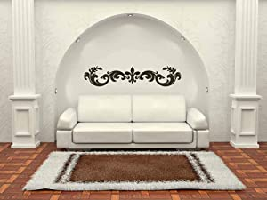 Horizontal Wall Decor Horizontal Decor Old World Fleur de lis Flourish Wall Decal Vinyl Decal Sticker Home Wall Art Office Decor and Stick Made in USA