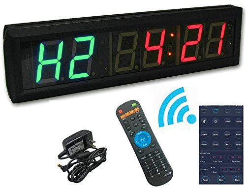 GANXIN App-Control 1.8'' High 6 Digits LED Interval Timer with Countdown /up Clock, 12/24-H Real Time Clock, Stopwatch by Remote Control by Ganxin