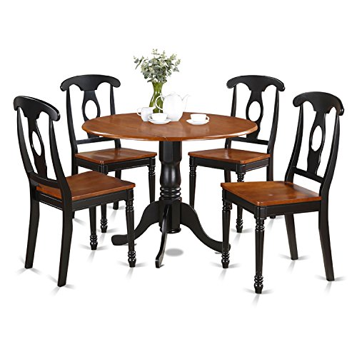 5 Piece Cherry Finish Wood - East West Furniture DLKE5-BCH-W 5-Piece Kitchen Table Set, Black/Cherry Finish