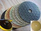 4'' Diamond Premium Honeycomb Durable Polishing Pad 20 Pieces 3 Glaze White Final Buff Free Backer Best Value Granite Concrete Marble Glass Travertine Quartz Terrazzo