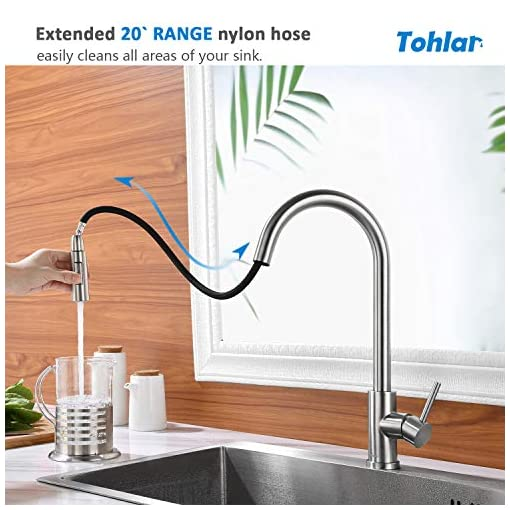 Kitchen Tohlar Kitchen Sink Faucets with Pull-Down Sprayer, Modern Stainless Steel Single Handle Pull Down Sprayer Faucet with… modern sink faucets