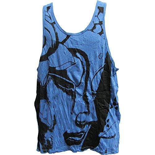 SURE Men's Hippie Yoga Buddha Crinkled Cotton Sleeveless Tank Top T-Shirt (#36 Blue) ()