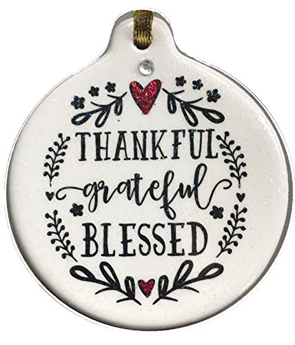 - Laurie G Creations Thankful Grateful Blessed Porcelain Christmas Ornament Gift Boxed