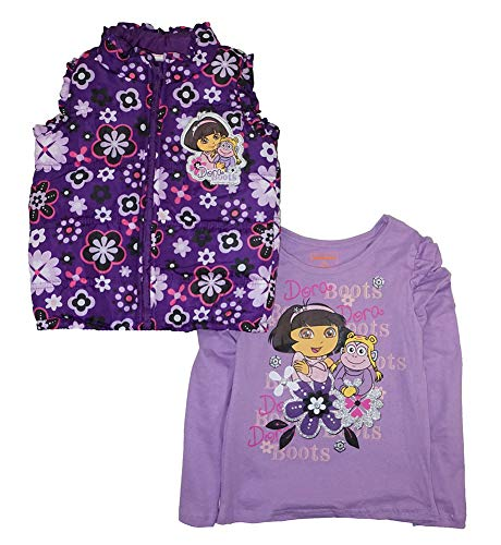 Nickelodeon Little Girls' Toddler Dora The Explorer Puffer Vest & Screen Print Tee 2pc Set, Purple, ()