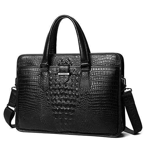 BOSTANTEN Cow Leather Lawyers Briefcase Formal Shoulder Bag Messenger for Men Horizontal Black Crocodile