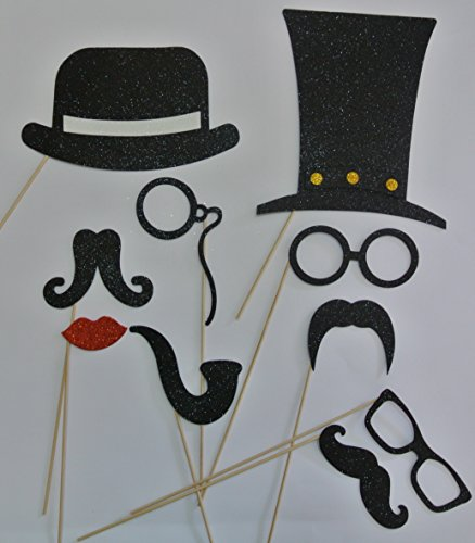 Mustache on a Stick Photo Booth Props Top Hats Bowler Hat Glasses Lip
